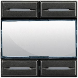 Bticino AXOLUTE COMMANDE MANUEL 4 TOUCHES AVEC PORT LIBELLES ANTHRACITE - HS4680KNX